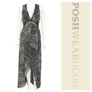 Dresses & Skirts - Black & White Lace Mid-Drift Hi/Lo Maxi Dress